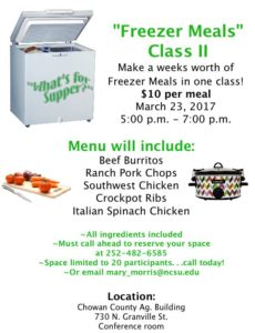 Cover photo for Freezer Meals Class II
