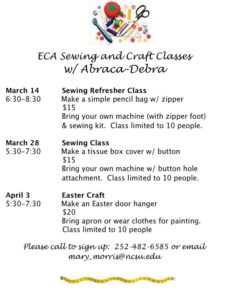 Cover photo for ECA Sewing and Craft Classes