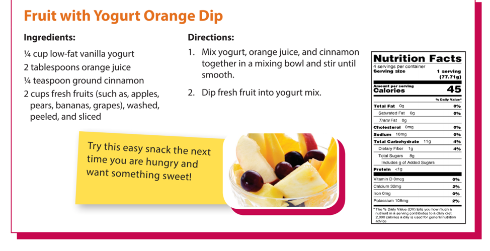 fruit with yogurt orange dip recipe and nutrition facts