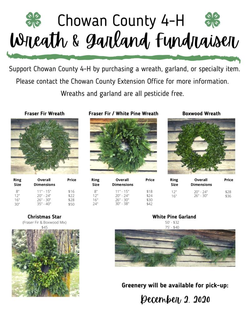 Chowan County 4-H Wreath & Garland Fundraiser flyer